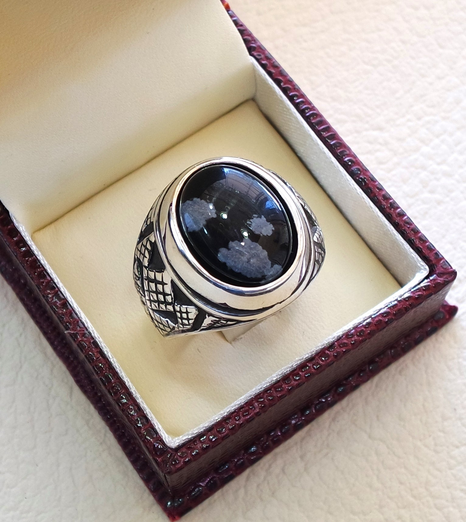Snowflake obsidian black aqeeq heavy man ring natural stone sterling silver 925 vintage turkish style all sizes fast shipping