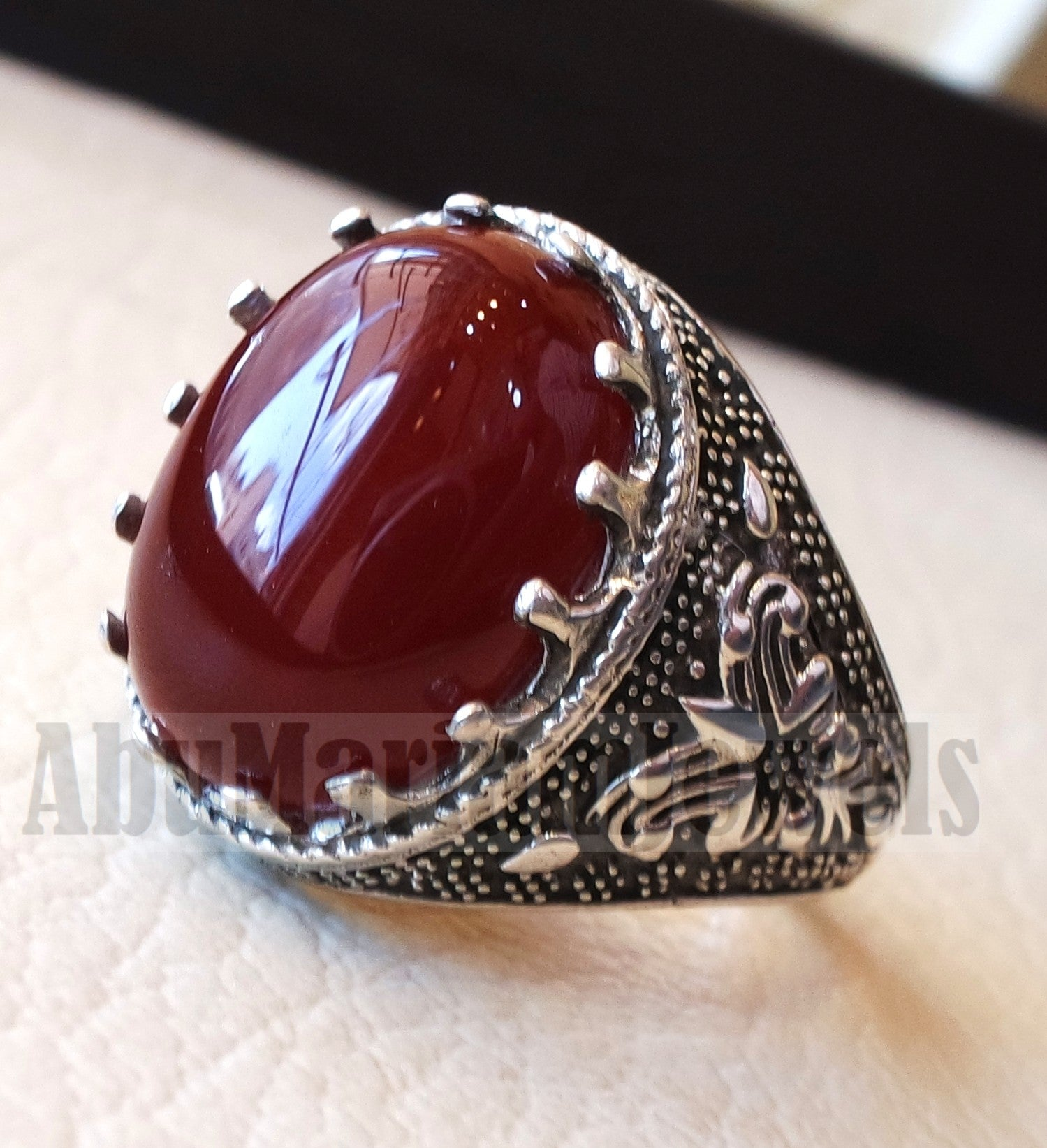 aqeeq Akik natural liver agate carnelian aqiq stone oval red cabochon gem man ring sterling silver arabic middle eastern turkey style