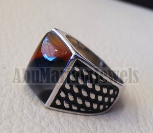 Rectangular yamani aqeeq natural semi precious multi color agate gemstone men ring sterling silver 925 jewelry all sizes 2 عقيق يماني