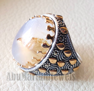 oval yamani aqeeq natural stunning Sulymani agate gem men ring sterling silver 925 and bronze jewelry all sizes عقيق يماني