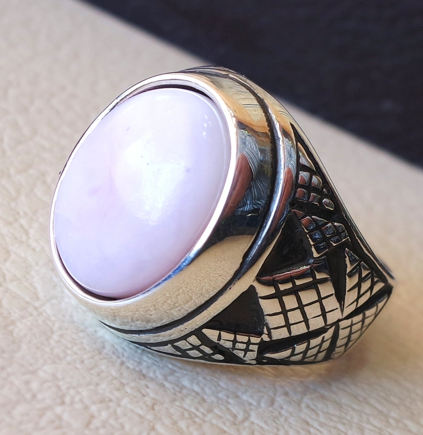 pink opal natural stone men ring sterling silver 925 stunning genuine gem ottoman arabic style jewelry all sizes