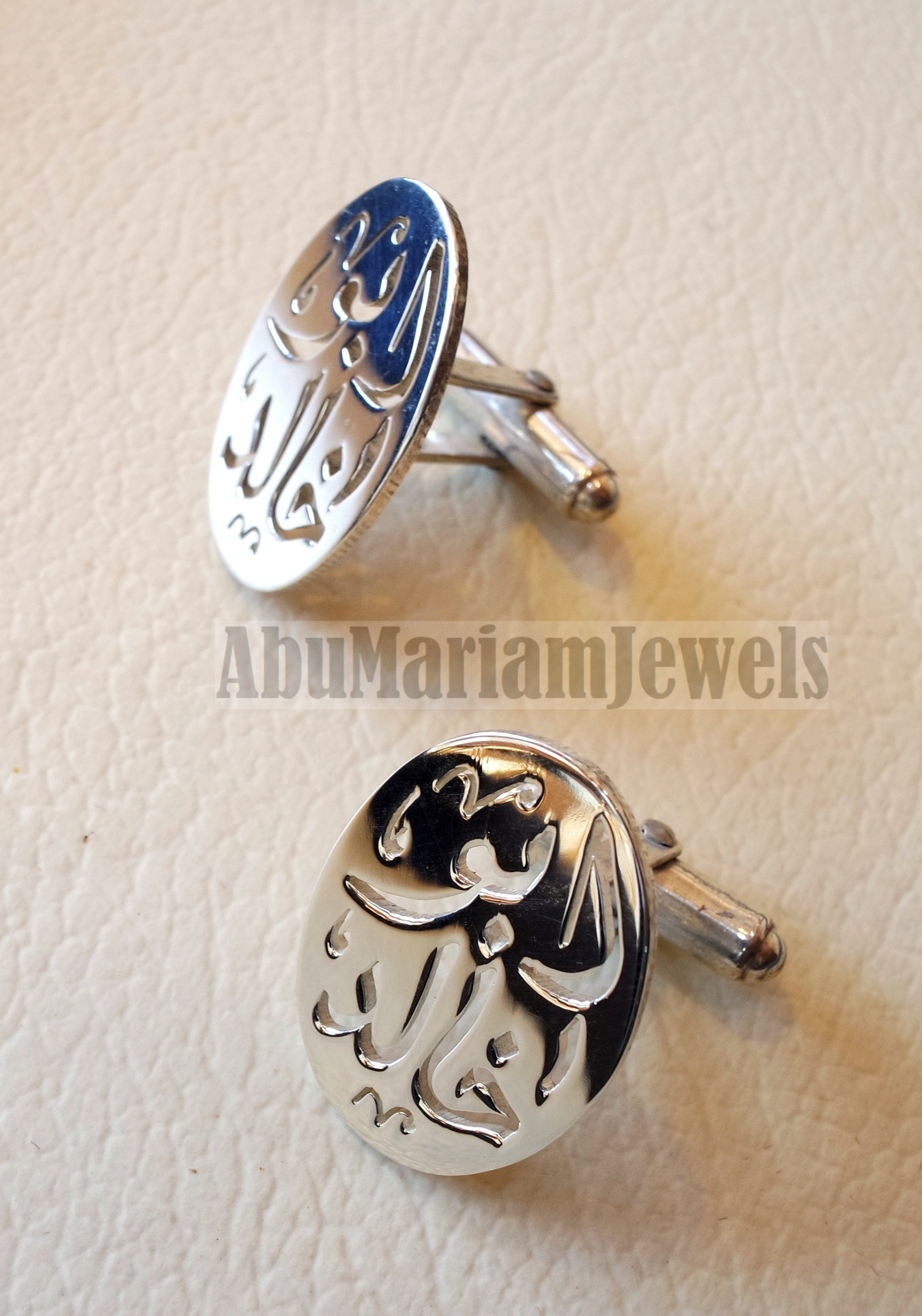 cufflinks , cuflinks name of two words each calligraphy arabic customized any name made to order sterling silver 925 heavy men jewelry cf008