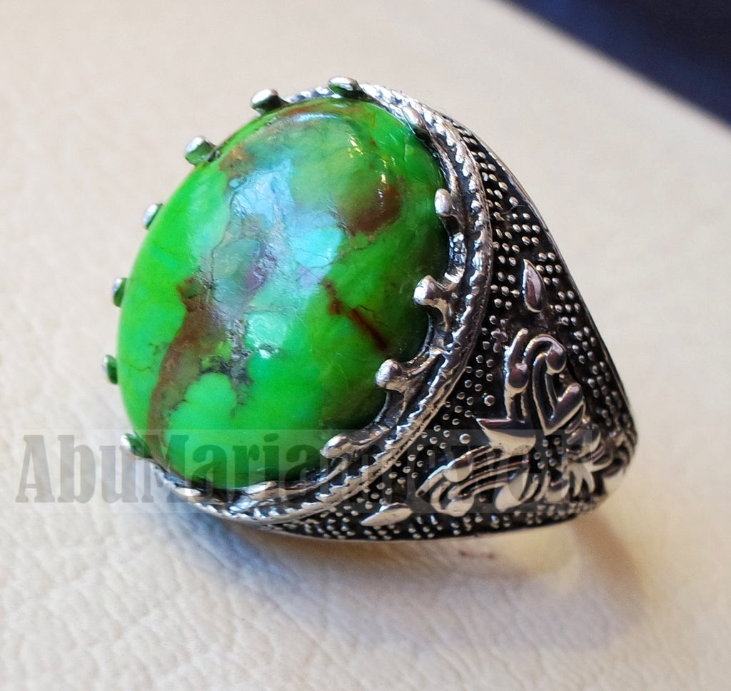 man ring copper green turquoise natural healing stone sterling silver 925 oval semi precious gem ottoman arabic style all sizes jewelry