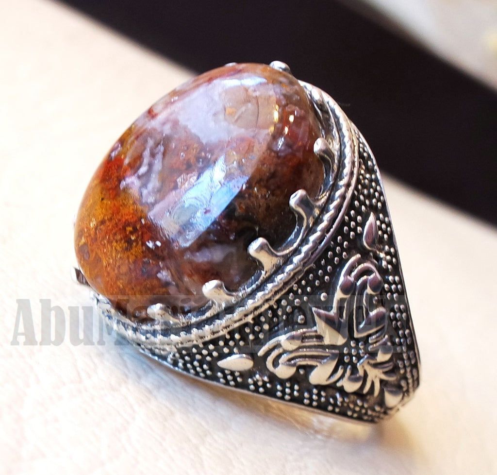 Agua nevada aqeeq sulymani natural Mexican stone sterling silver 925 man ring ottoman turkey antique style any size عقيق سليماني