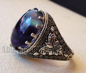 natural multi color fluorite purple blue green huge men ring sterling silver 925 mind clarity stone all sizes jewelry fast shipping