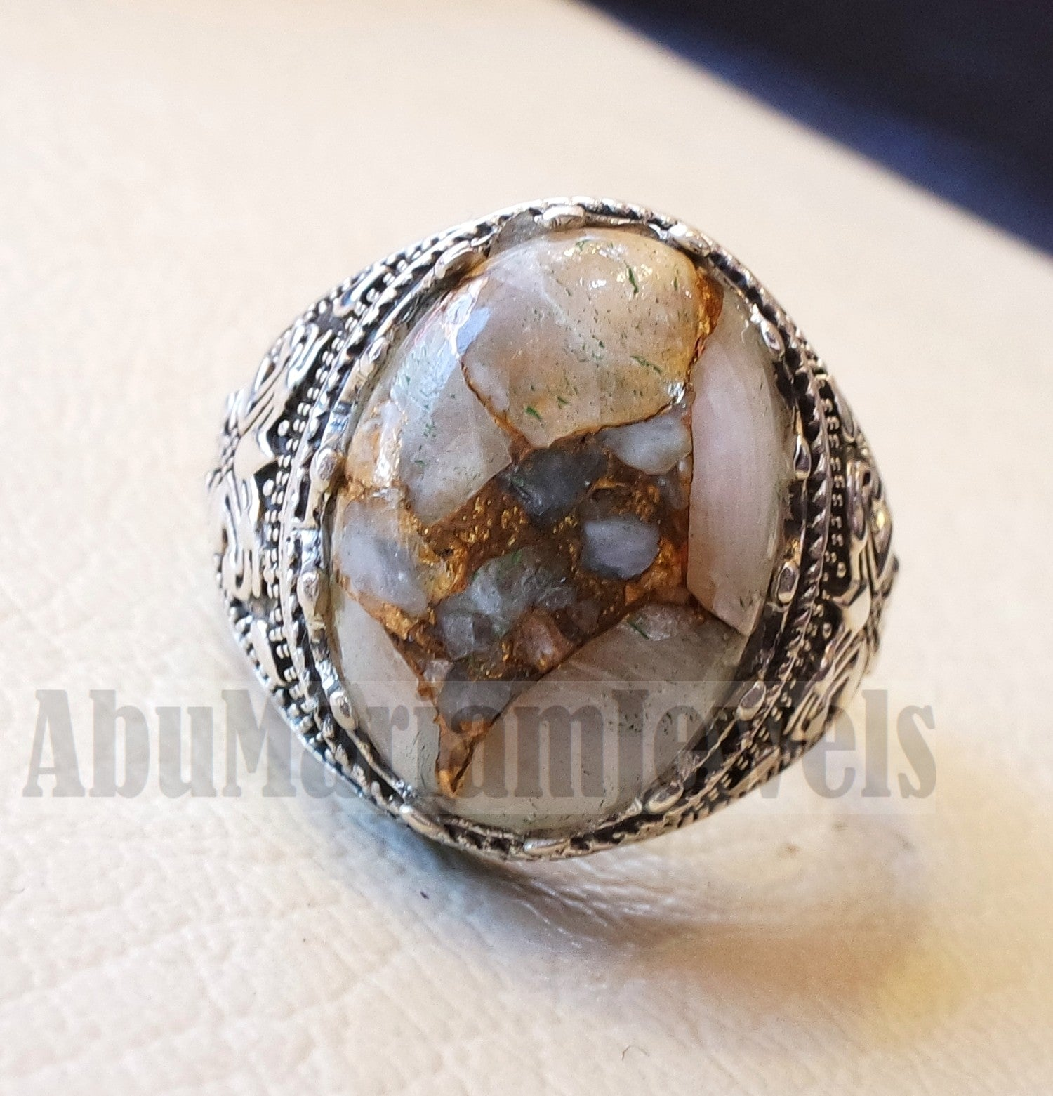 Orange copper Calcite man ring natural stone sterling silver 925 oval cabochon semi precious gem ottoman arabic style all sizes jewelry
