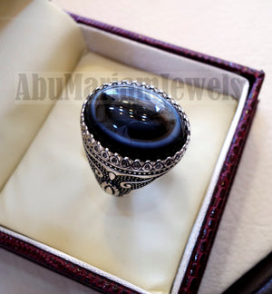 Sulymani aqeeq Huge agate natural cabochon man ring sterling silver all sizes jewelry middle eastern arabic turkey antique style