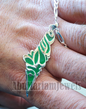 Palestine map pendant sterling silver 925 with thick chain  high quality with green enamel jewelry arabic calligraphy fast shipping خارطه فلسطين