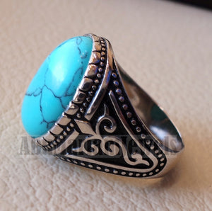 blue turquoise cabochon stone sterling silver 925 men ring vintage ottoman style jewelry oval imitation stone all sizes fast shipping