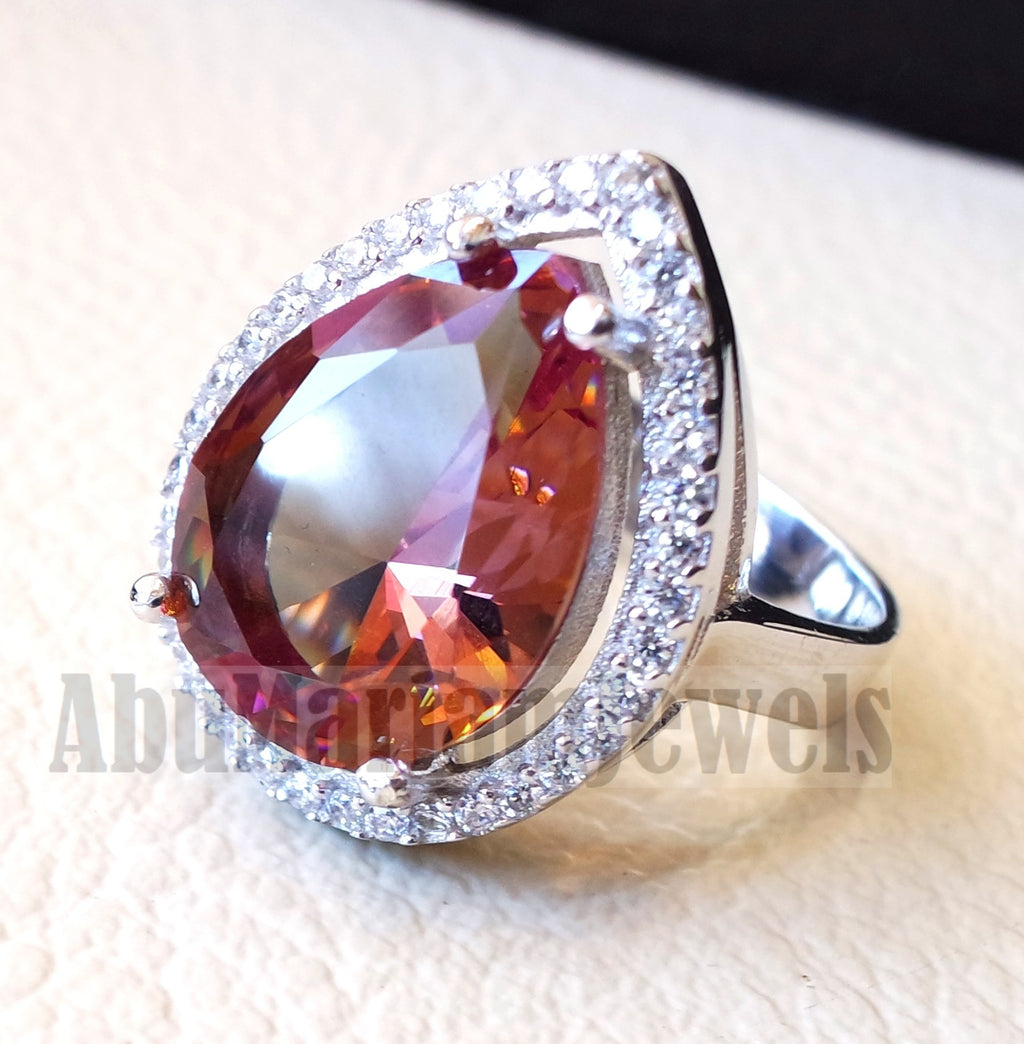 Zultanite oval natural changing color rare pear shape gem in sterling silver 925 Diaspore women ring cut stone all sizes entourage cubic zircon