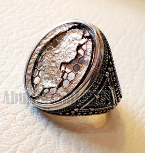 Tunisia , Tunisie , تونس map man ring sterling silver and bronze arabic middle eastern turkey oriental antique style fast shipping all sizes