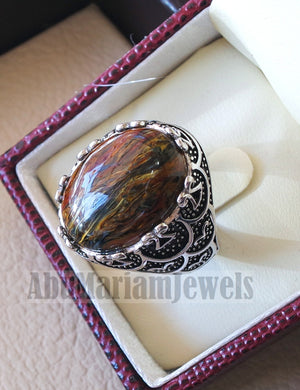 man ring pietersite natural stunning stone sterling silver 925 oval cabochon multi color gem ottoman arabic style all sizes jewelry