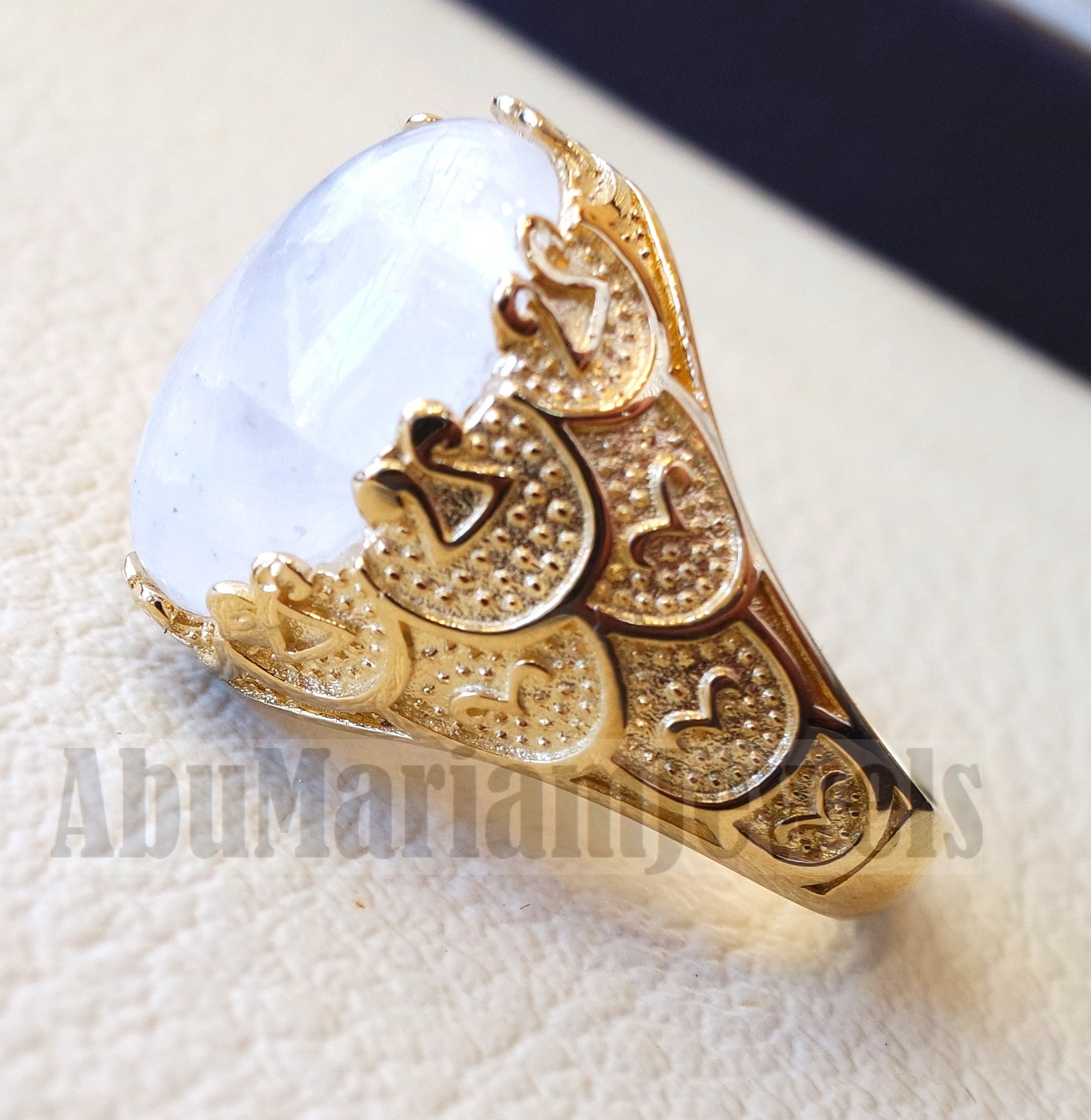 18k gold men ring moonstone energy stone high quality flashy white natural stone all sizes Ottoman signet style fine jewelry fast shipping