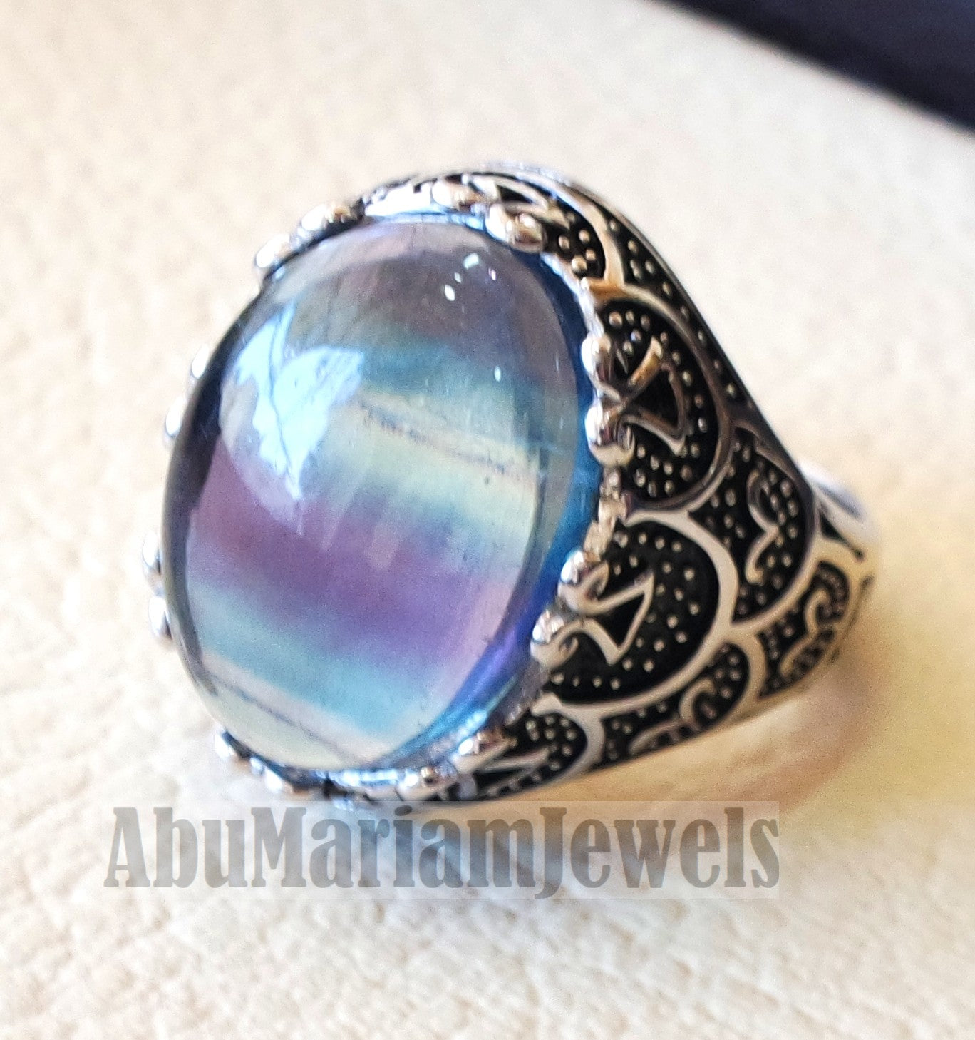 natural multi color fluorite purple blue green men ring sterling silver 925 unique stone all sizes jewelry fast shipping oxidized style