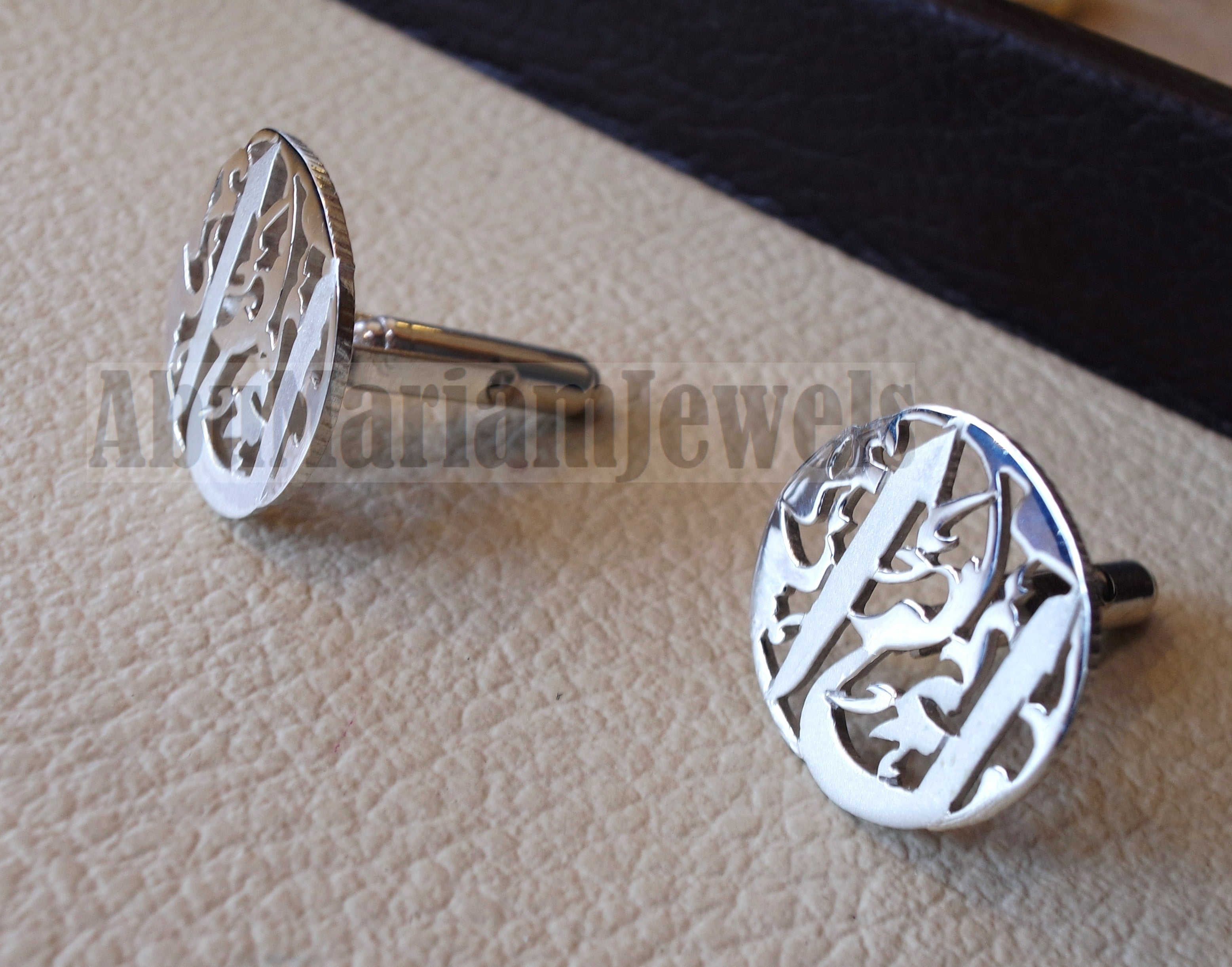 cufflinks , cuflinks 2 words on piece calligraphy arabic customized any name made to order sterling silver 925 heavy men jewelry عربي CF13