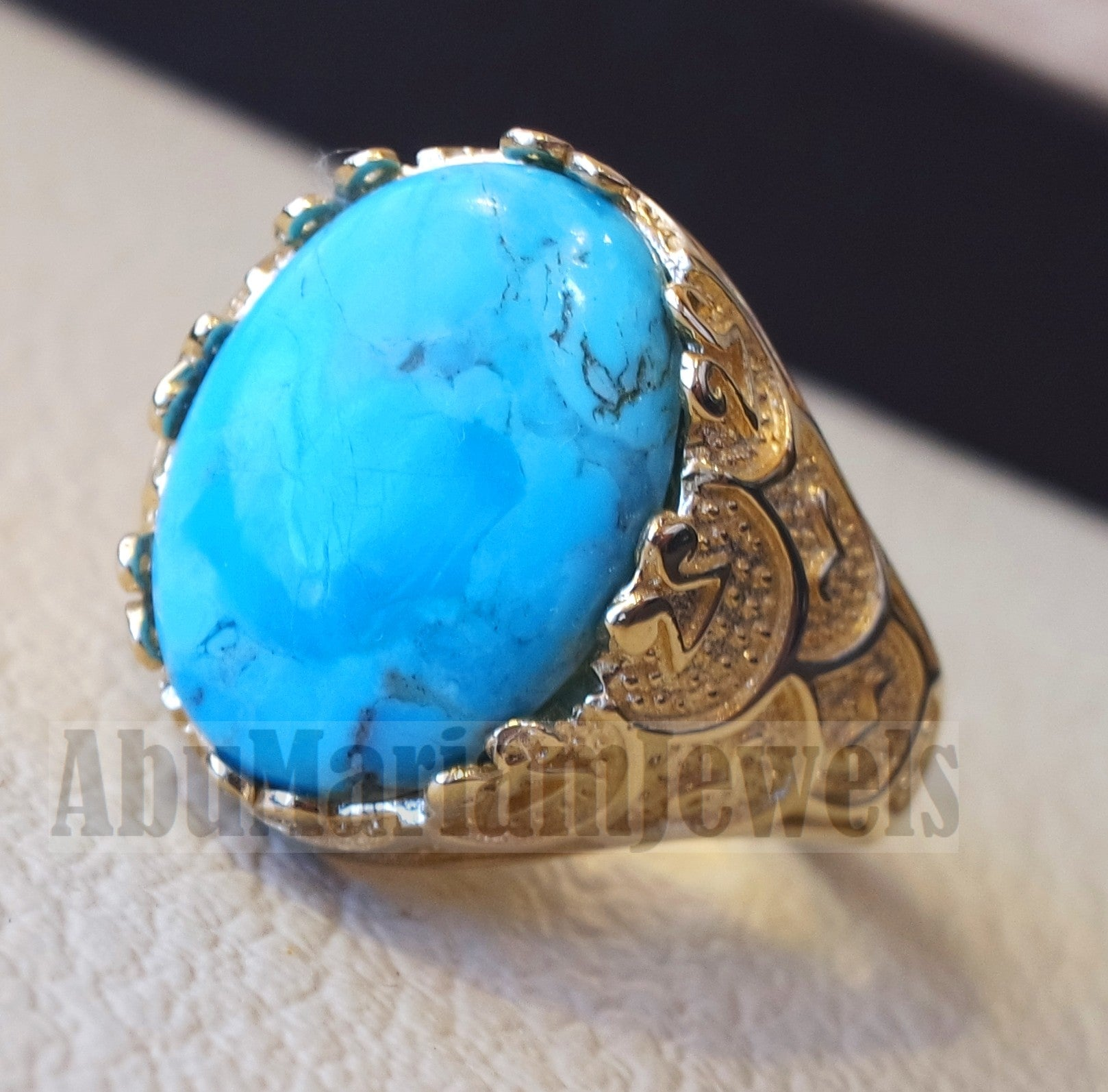 18k yellow gold men ring blue Arizona turquoise stone high quality natural stone all sizes Ottoman signet style fine jewelry fast shipping