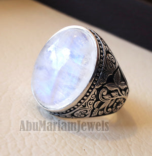 moonstone natural stone durr al najaf men ring jewelry sterling silver 925 stunning genuine gem nature design style jewelry all sizes