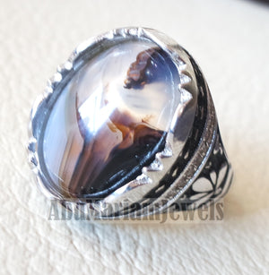 oval yamani aqeeq natural semi precious multi color agate gem men ring sterling silver 925 and cubic zirconia jewelry all sizes عقيق يماني