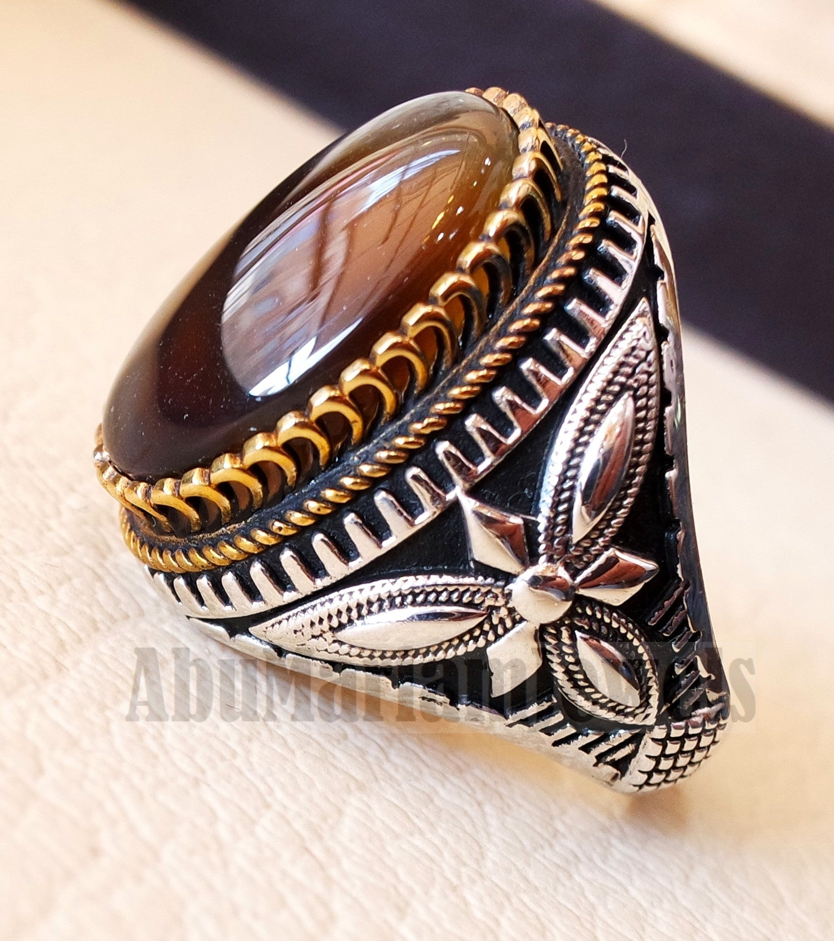 Oval yamani aqeeq natural semi precious multi color agate gem men ring sterling silver 925 and bronze jewelry all sizes  1011 عقيق يماني