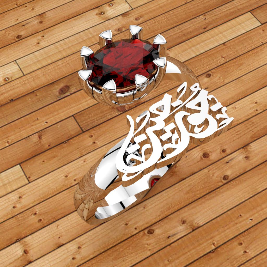 Arabic calligraphy customized 1 name sterling silver 925 or 18 k yellow gold ring and red synthetic corundum identical to genuine ruby S101