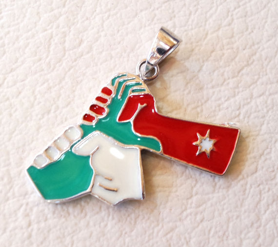 Jordan sterling silver map and flag enamel colors pendant 925 k high quality arabic jewelry fast shipping خارطة الاردن فضه