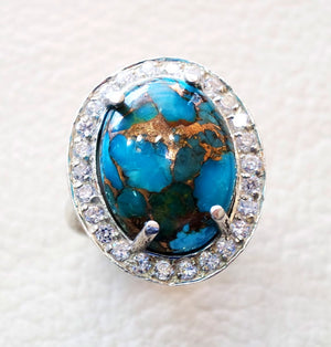 women ring copper blue turquoise entourage white cubic zircon pave setting sterling silver 925 all sizes natural oval cabochon stone فيروز