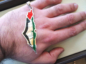 Huge heavy Palestine map & flag pendant sterling silver 925 k high quality enamel colorful jewelry arabic fast shipping خارطه و علم فلسطين