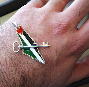Palestine map & flag and historic key pendant sterling silver 925 high quality enamel jewelry arabic fast shipping خارطه و علم فلسطين