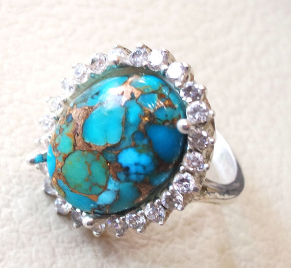 women ring copper blue turquoise entourage white cubic zircon sterling silver 925 all sizes high quality natural oval cabochon stone فيروز