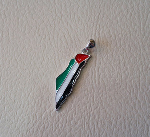 Palestine map & flag pendant sterling silver 925 k high quality enamel colorful jewelry arabic fast shipping خارطه و علم فلسطين