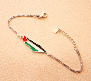 Palestine map & flag bracelet sterling silver 925 k fit all sizes double chain colorful enamel high quality jewelry اسواره خارطه وعلم فلسطين