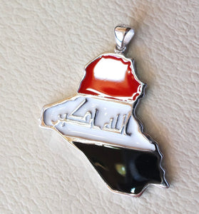 Iraq sterling silver map and new flag enamel colors pendant 925 k high quality arabic jewelry fast shipping خارطة العراق فضه