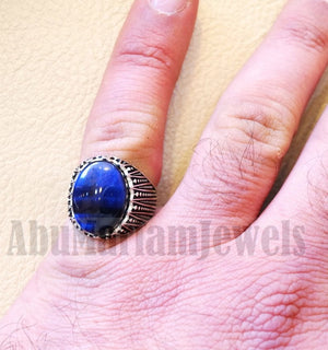 Stunning tiger eye blue stone men ring sterling silver 925 and jewelry handmade arabic turkey ottoman style any size