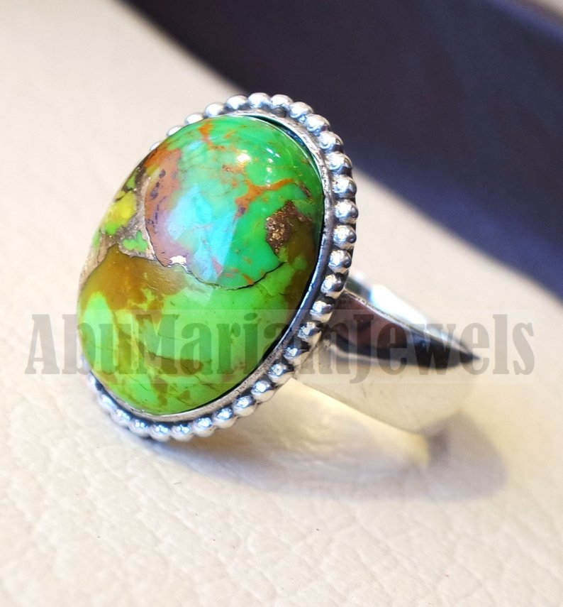men or women ring copper green turquoise skin touching stone sterling silver 925 all sizes high quality natural oval cabochon stone فيروز