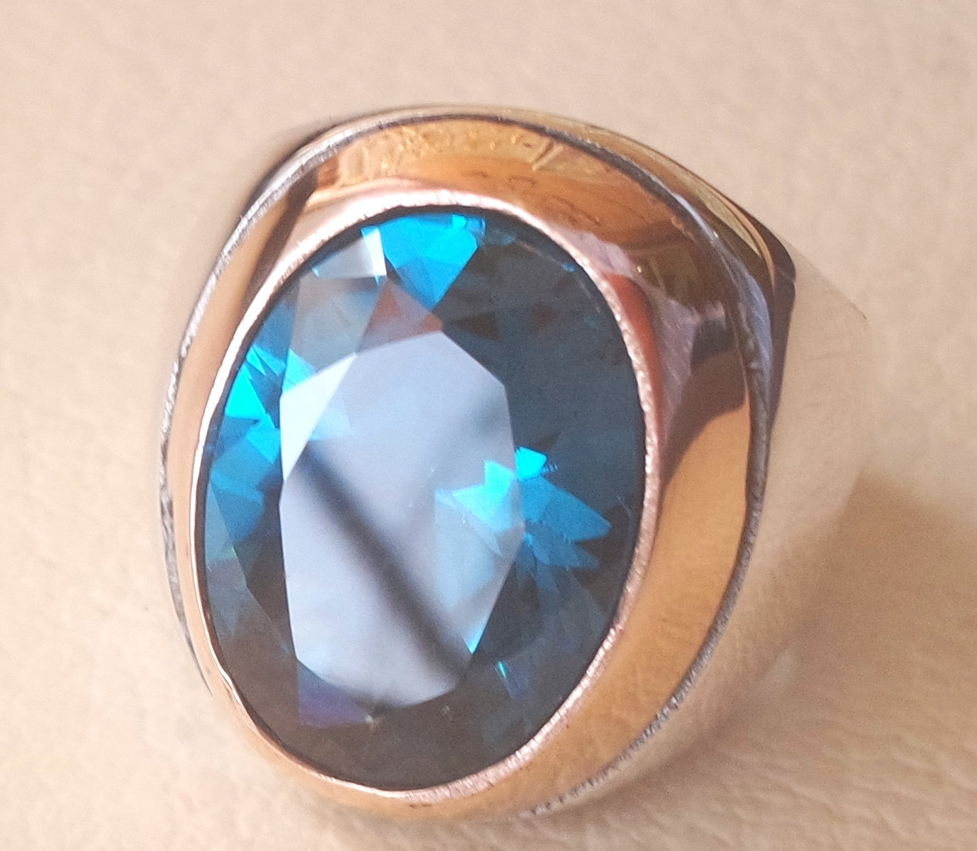 deep vivid blue cubic zircon oval huge stone highest quality stone sterling silver 925 men ring and bronze frame  all sizes jewelry