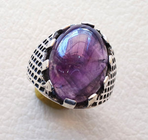 purple amethyst agate natural cabochon sterling silver 925 men ring vintage arabic turkish ottoman antique style jewelry oval  gem all sizes