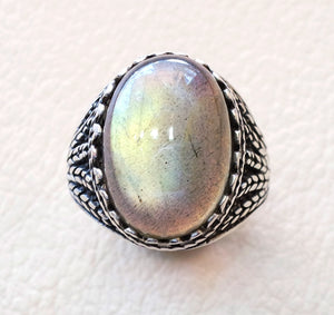 Flashy color Labradorite natural pure high quality stone semi precious stone man ring sterling silver 925  any sizes jewelry fast shipping