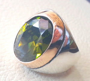 deep vivid olive fancy green cubic zircon oval huge stone high quality stone sterling silver 925 men ring and bronze frame all sizes jewelry