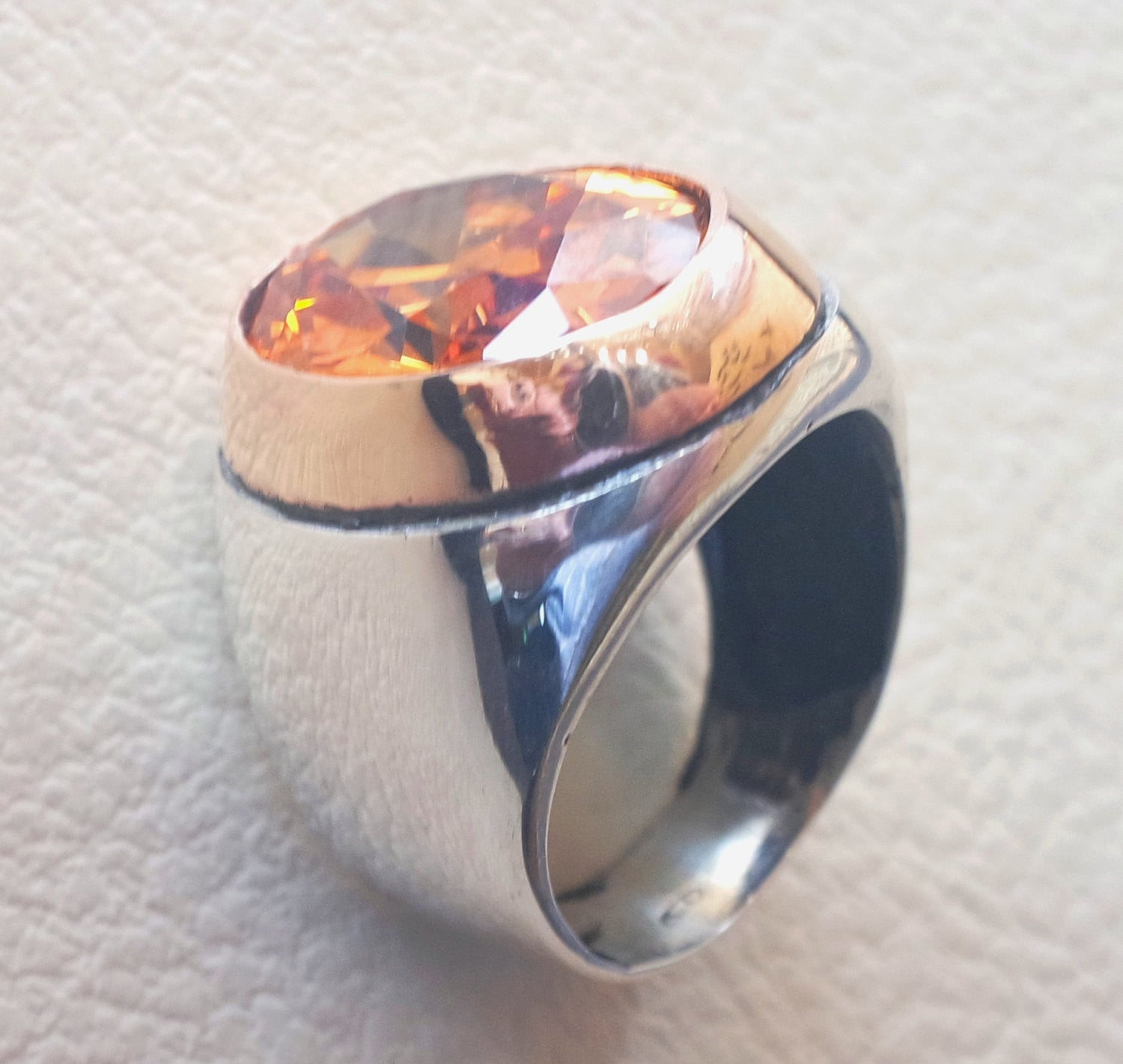 deep vivid fancy orange cubic zirconia oval huge stone highest quality stone sterling silver 925 men ring and bronze frame all sizes jewelry