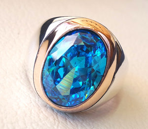 deep vivid sky blue cubic zircon oval huge stone highest quality stone sterling silver 925 men ring and bronze frame  all sizes jewelry