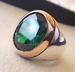 deep vivid fancy green synthetic corundum oval huge stone high quality stone sterling silver 925 men ring and bronze frame all sizes jewelry