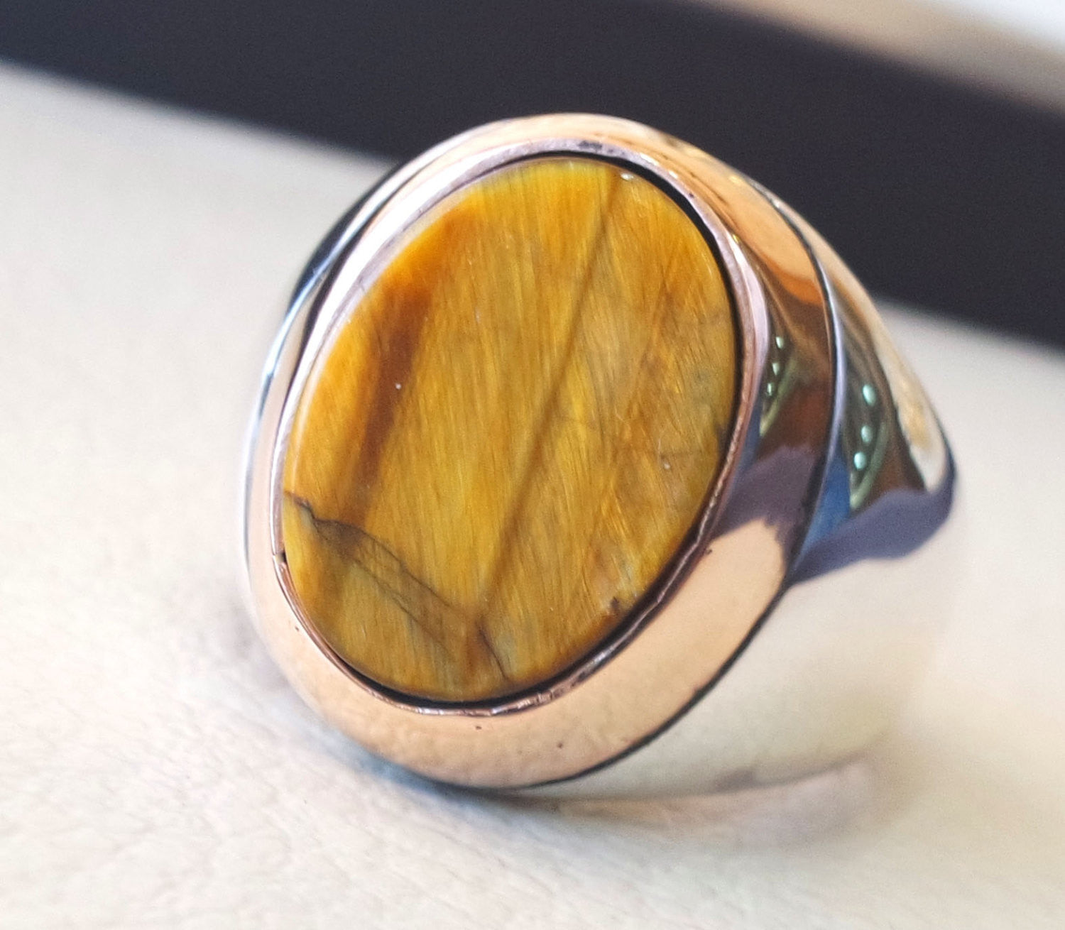 men ring tiger eye cat eye natural flat semi precious oval stone ottoman antique ottoman arabic style two tone sterling silver 925