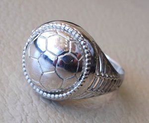 Football lover sterling silver 925 men ring all sizes jewelry fast shipping ideal for soccer player or fan gift