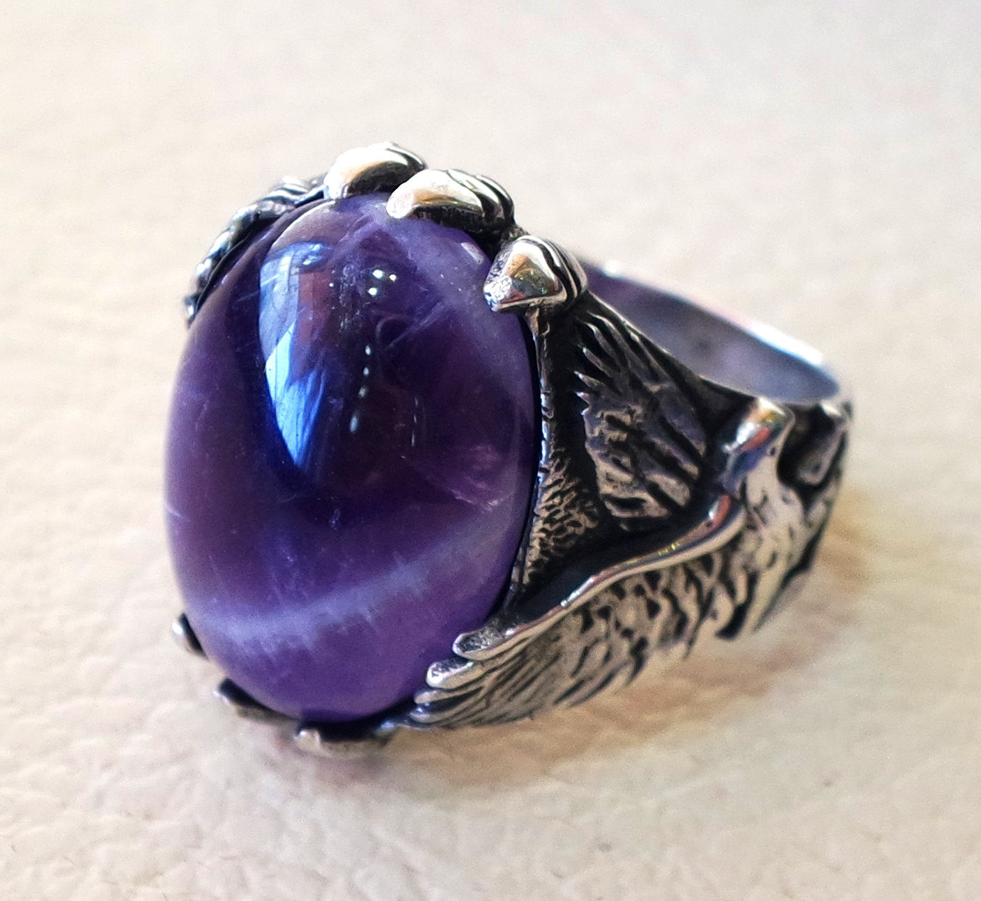 amethyst lace agate oval cabochon purple stone eagle sterling silver 925 men ring all sizes fast shipping oxidized antique classic jewelry