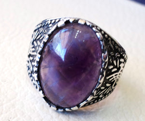 amethyst agate natural purple stone sterling silver 925 man ring vintage arabic turkish ottoman style jewelry oval  gem all sizes