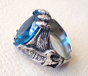 blue cubic zircon huge men eagle ring sterling silver 925 sky sea color unique stone all sizes jewelry fast shipping oxidized style
