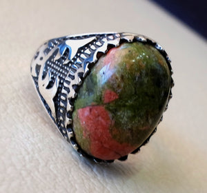 unakite natural multi color stone oval cabochon sterling silver 925 men carved ring high quality orange green pink semi precious jewelry