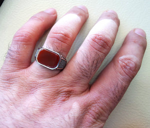 cushion octagon agate red aqeeq carnelian man ring sterling silver 925 natural semi precious stone gem all sizes jewelry fast shipping
