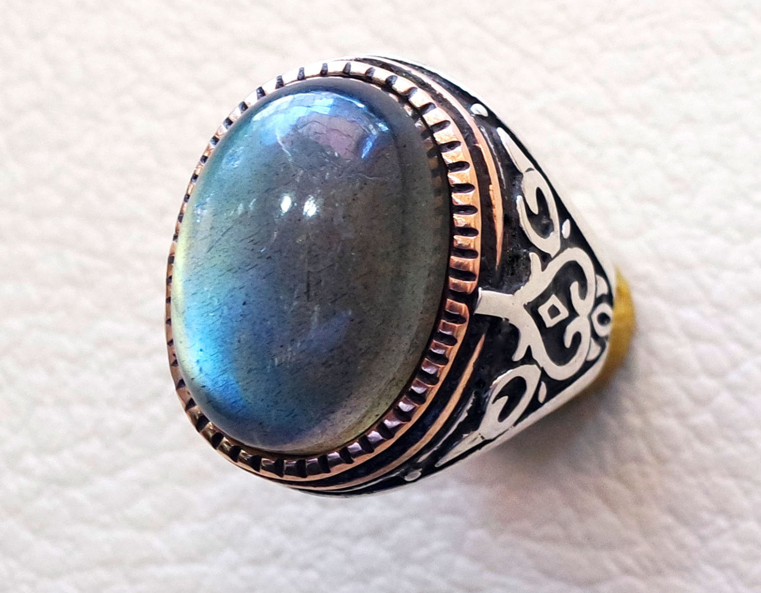 Labradorite natural stone green grey semi precious stone heavy man ring sterling silver 925 bronze frame any sizes jewelry fast shipping