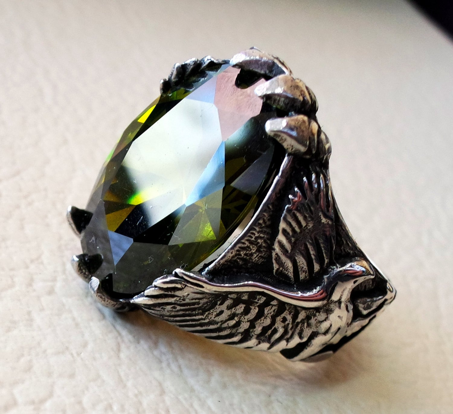 eagle falcon man ring sterling silver 925 oval vivid olive green cubic zircon stone all sizes jewelry gem identical to genuine high quality